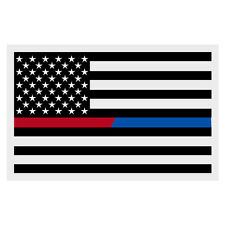 Black American Flag Red Blue Line Firefighter Police Small Reflective Decal