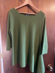 NWT Neiman Marcus Women's Green Cashmere Sweater SZ XL Retail $275.