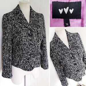 Ladies M&S PER UNA Black White Boucle Blazer Jacket 16 Smart Formal Work Office