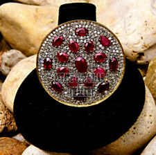 Victorian Inspired 3.95ct Rose Cut Diamond Ruby Studded Silver Disc Ring Jewelry