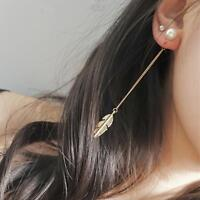 Long Simulated Pearls Long Tassel Leaf Feather Dangle Earrings Jewelry Drop New
