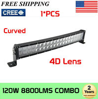 "120W 22"" Curved 4D Combo LED Work Light Bar Offroad SUV Truck Chev Boat Ford 20"""