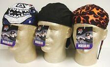 Lot Set 3 Black Flames Patriotic Road Hog Sweatband Durag Headwrap Cap Biker