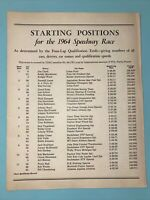 VINTAGE 1964 INDIANAPOLIS 500 Starting Positions Handout Seat Order Form For 65