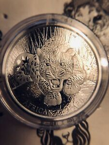 2017 Cameroon  African Leopard 1 oz Silver Coin BU (Mint Sealed)