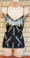 AFTERSHOCK BLACK ALL BEADED BOHEMIAN FLORAL SEQUINS PARTY CAMI TOP BLOUSE 10 S