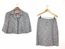 MaxMara Studio Grey Flecked Skirt Suit Blazer 60s Chic Jackie O 10 - 12 UK