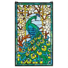 Peacock's Paradise Stained Glass Window Design Toscano Hand Crafted Art Glass
