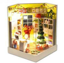 Kit w/ LED Wooden Dollhouse Miniature DIY House merry christmas Xmas Gift with