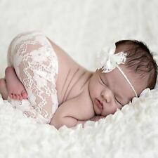 Infants Newborn Baby Girls Lace Rompers Bib Pants+ Headband Photography Props LG