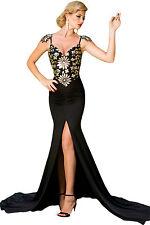 Abito lungo aperto Scollo coda nudo aderente Spacco Maxi Evening Gown Dress S