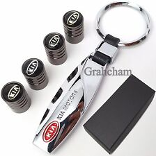 Kia chrome metal key ring + Tyre valve caps with gift box, punto panda 500