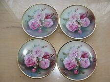 "4 Thomas Sevres Bavaria hand painted 6"" plates Bourbon Rose"