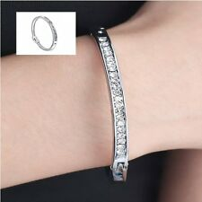 DIAMANTE CRYSTAL WHITE-SILVER PLATED CUFF BANGLE BRACELET JEWELLERY NEW FOR GIFT