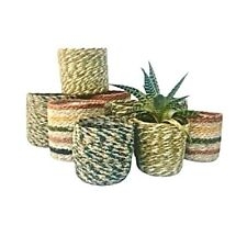 Rustic Plant Basket Woven Lined Herb Planter Flower Pot Holder Storage Tidy