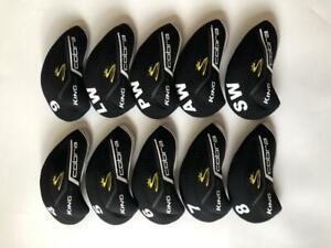 10PCS Golf Club Headcovers for Cobra King F8 Iron Covers 4-LW Black&Black R/H