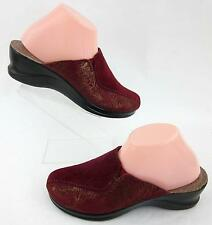 Fly Flot Womens Slide Clogs Suede Leather Cardinal Red & Gold Sz 39 EU / 7.5 US