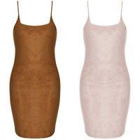 New Faux Suede Strappy Square Neck Cami Bodycon Short Mini Stretch Party Dress