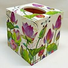 Made To Order, Handmade Decoupage Tissue Box Cover, Water Lily, Dragonfly