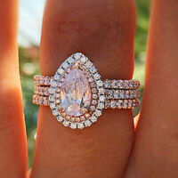 925 Silver Plated  Women Jewelry Wedding Rings Pink Sapphire Size 6-10