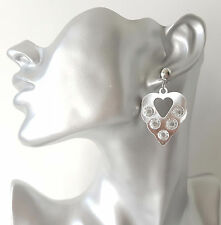"Gorgeous small silver tone & crystal heart shape drop earrings, 5cm - 2"""