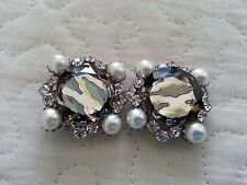 SET OF 2 CRYSTAL RHINESTONE AND PEARL BUTTONS