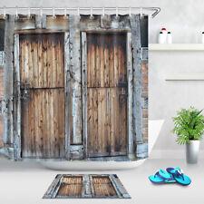 "71"" Waterproof Shower Curtain Fabric Bathroom Decor Rustic Country Barn Door"