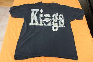Vintage LA KINGS T-Shirt 1992 Mendez Striped 90s Logo NHL Los Angeles Gretzky
