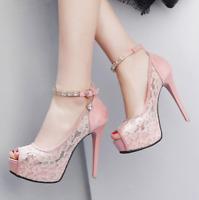 12cm Ladies Super High Heels Platform Lace Sandals Peep Toe Stiletto Buckle Shoe