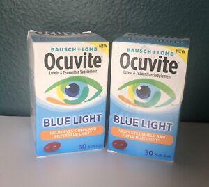 Lot of 2 Bausch Lomb Ocuvite Blue Light Soft Gel 30 Soft Gels, New (Other)