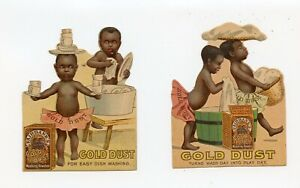 TWO 1880'S DIE CUT TRADE CARDS GOLD DUST WASHING SOAP POWDER BLACK AMERICANA