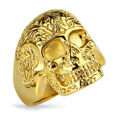 Biker Herren Rocker Ring Totenkopf Blumenmuster Massiv Gold IP Gothic