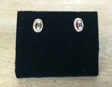 Simulated Sapphire & Diamond Gold Plated Ladies Earrings w/ 9ct Gold Butterflies