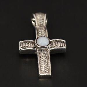 Sterling Silver Southwestern Striped White Agate Religious Cross Pendant - 8.5g