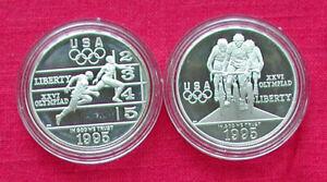 1995 Atlanta Olympics 2 coin proof set-track & cycling-box & COA