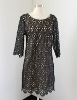 Umgee Black Beige Nude Floral Eyelet Lace Dress Size L Cocktail Party 3/4 Sleeve
