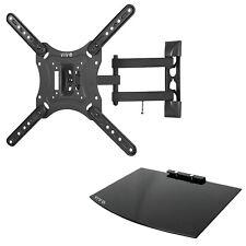 "VIVO Black 23"" to 55"" Screen Adjustable TV Wall Mount & AV, DVD Floating Shelf"