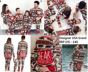 Family mens ladies kids baby all in one pyjama loungewear flapjack bear RRP £40