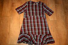 ASOS tartan ruffle skater dress SIZE 10 12 woolen check frill peplum GREAT COND