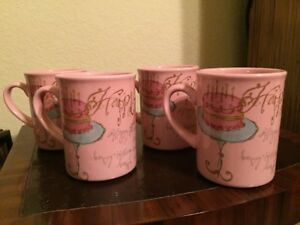 COFFEE Tea MUGS from CR TABLE Set of 4 New SHIP FREE Pink Cups HAPPY BIRTHDAY