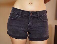 "HOLLISTER Faded Black Denim Midi Jean Shorts Pre-Owned 1 24"""
