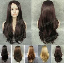 "24"" front lace long straight side parting dark brown golden black synthetic wig"