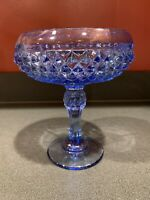 Vintage Indiana Glass Diamond Point Ice Blue Compote Candy Dish