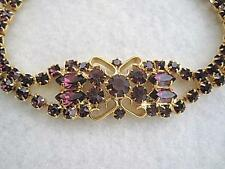 Beautiful Unused Vintage Sparkling Amethyst Glass Bracelet