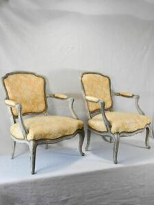 Small pair of Louis XV style fireside armchairs