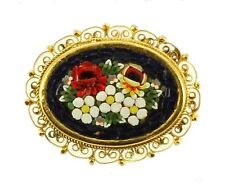 VINTAGE MICRO MOSAIC FILIGREE GOLD TONE  BLUE RED WHITE YELLOW GREEN  PIN ITALY