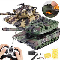 RC Battle Tank Crawler Remote Control Toys Car Can Launch BB Bullets 1:32 Gift