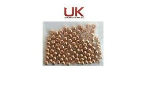 100 UKAS Quality Copper Counter Sunk (Brass Plated) beads for Fly Tying 4mm