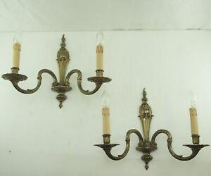 Antik XL Wandlampen GROß NEUE Fassungen Verkabelung Kerzenhülsen Um 1920 Led 2fl