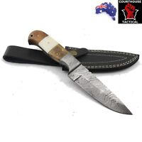 Handmade Hunting Knife, Damascus Blade, Walnut Wood, Camel Bone, Damascus Sheath